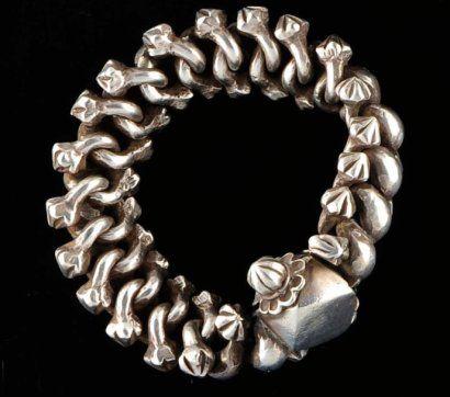 Bracelet articulé en grosses mailles d'argent Argent Inde, Radjasthan