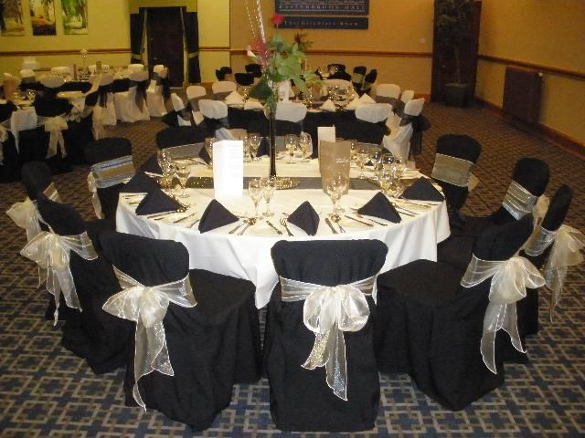 Black Chair Covers With Champagne Organza Sash