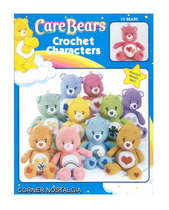 Price is for the pattern only, not the finished product.  33 pages-10 care bears  Size: 14 (35.5 cm) tall  There is no shipping charge for this item, as it is a PDF file and will be sent almost direct of payment. If you dont receive it within 24 hours, please, contact me.  All patterns are written in standard American terms.  You can always contact me if you have any problems with the pattern. This is from my own collection of Vintage Patterns,has been digitally cleaned by me. This Pattern…