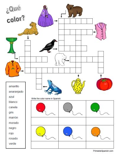 Here is a free Spanish colors worksheet that can be used by any age learner. It features 11 color words in a crossword puzzle, a dozen Spanish color words spelled out in a word box, and spaces to w...