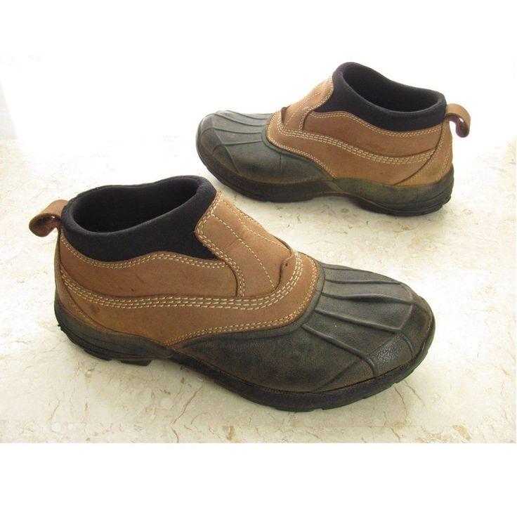 LL Bean Duck Shoes Mens 8 M Brown Leather Black Rubber Waterproof Ankle Booties  #LLBean #LoafersSlipOns
