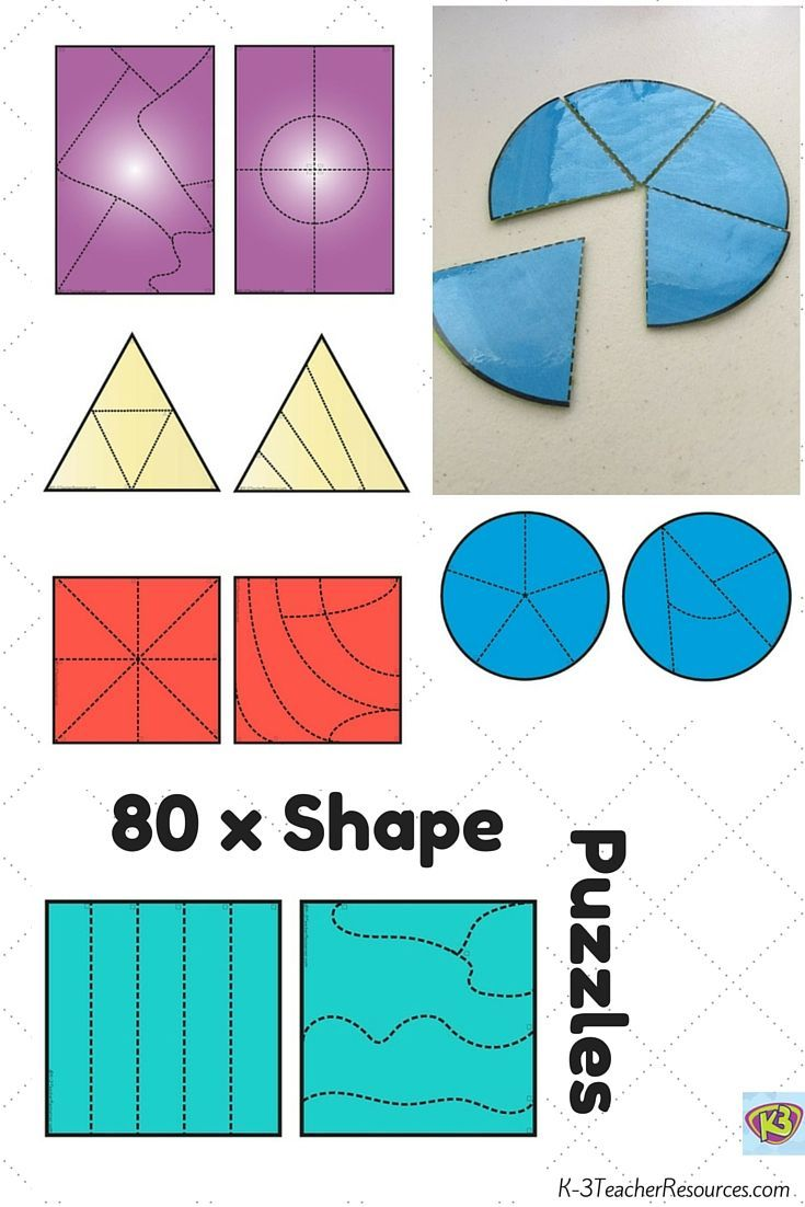 Includes:     20 circle puzzles with different cuts     20 triangle puzzles with different cuts     20 square puzzles with different cuts     20 rectangle puzzle with different cuts