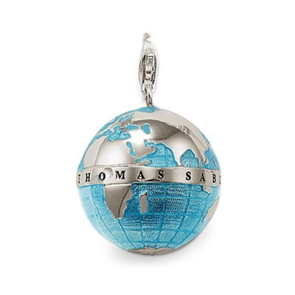 Colgante Thomas Sabo plata, bola del mundo, esmalte azul - Manuel Joyero