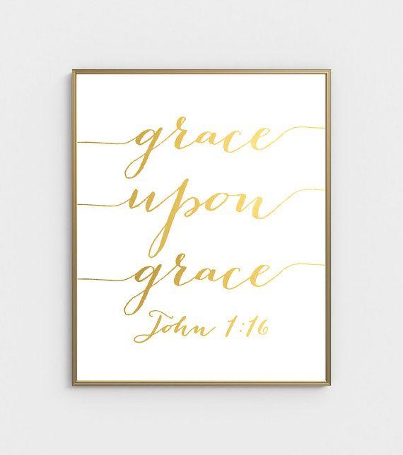 Grace Upon Grace Bible Verse Art John 1:16 Scripture by ArteeCor