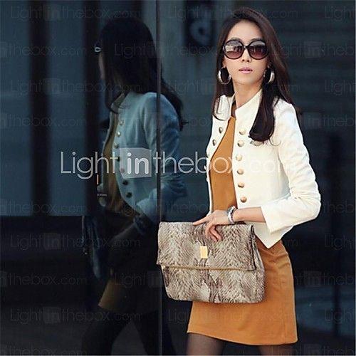 botón negro corto chaqueta blanca de las mujeres, collar del soporte de doble botonadura de manga larga - USD $ 13.99