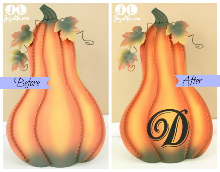 Vinyl Thanksgiving Metal Pumpkin Decor #SilhouetteCameo #thanksgiving #vinyltutorial #vinyl #pumpkin #metaldecor