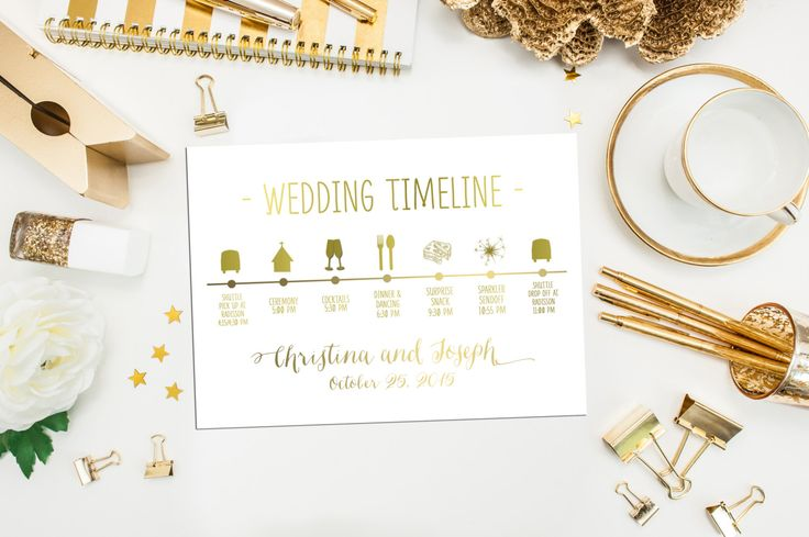 How To Create The Perfect Reception Timeline: Wedding Timeline. Printable Custom Wedding Schedule Of