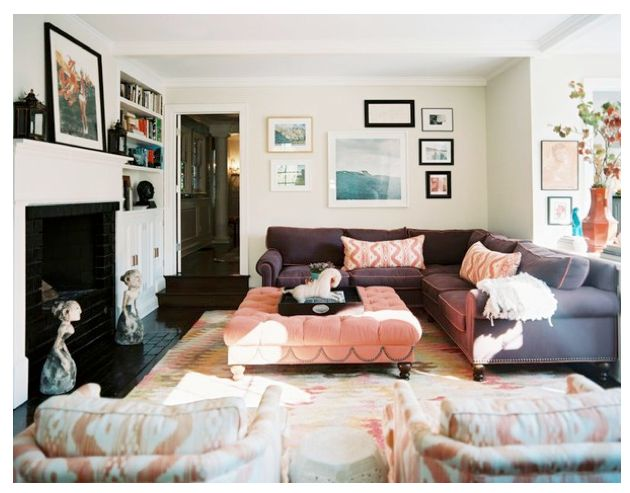 Big sofa, big ottoman, long narrow livingroom with window, layout same as mine