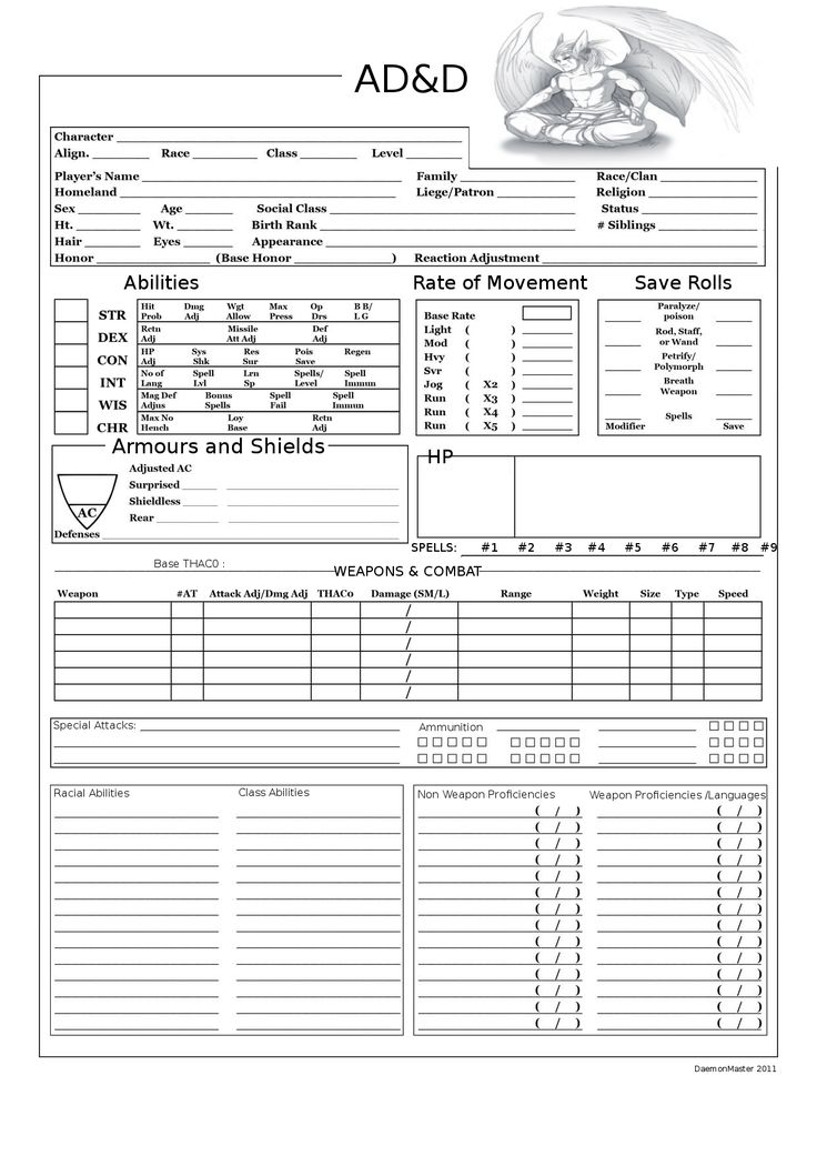 dungeons and dragons character sheets | AD&D Player Character sheet page 1 with backgr