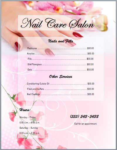Nail Services Salon Price List Template | Printable Templates