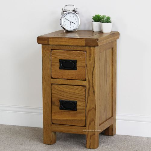 Details About Rustic Oak 2 Drawer Slim Bedside Table   Solid Bedroom  Furniture Lamp Side RS40