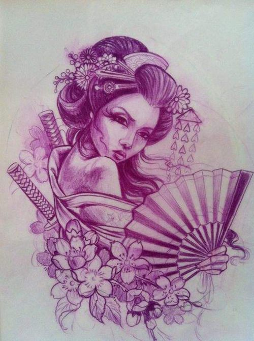 geisha tattoos drawing tattoo pinterest coloring oriental and blossoms. Black Bedroom Furniture Sets. Home Design Ideas