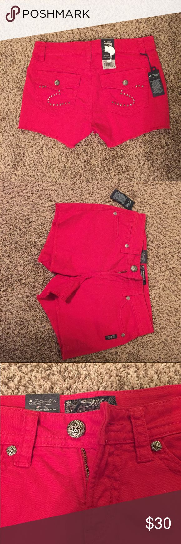 "Silver Jeans ""Toni Flap"" Shorts Women's 27 BRAND NEW never worn, tags still attached. Red Jean shorts with studded detail on back pockets. MSRP $78. Size 27. Toni Flap is the style name. Silver Jeans Shorts Jean Shorts"