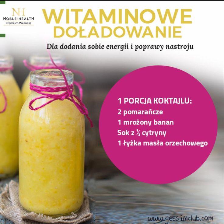 Koktajl Witaminowe Doładowanie #noblehealth #witaminy #koktajlwitaminowy #banan #pomarańcza #cytryna #masłoorzechowe #shake #koktajl