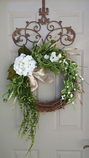 Year Round Wreath, Large Wreath, Spring Wreath, Summer Wreath, Hydrangea Wreath, Door Wreath