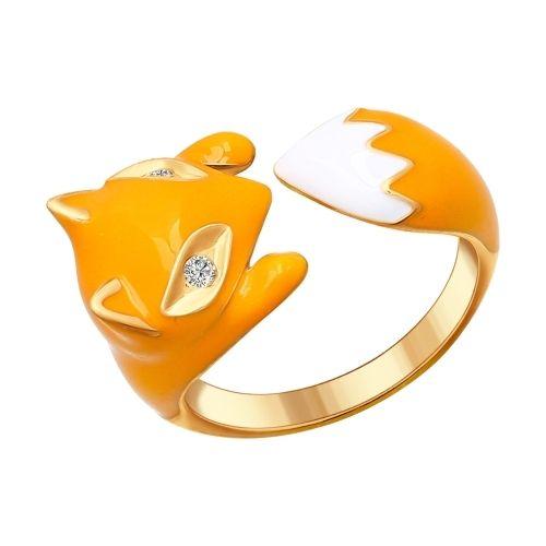 Кольцо в виде лисы из серебра с позолотой и эмалью