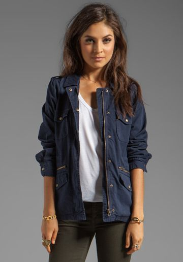 VELVET BY GRAHAM & SPENCER x Lily Aldridge Ruby Army Jacket in Navy - Velvet by Graham & Spencer