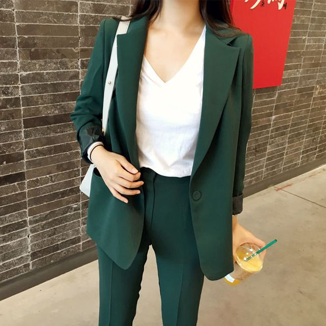 Women's Business Suits Formal Office pant Suits female Work wear 2 Piece Sets 2017 Slim green Suit Jacket Set