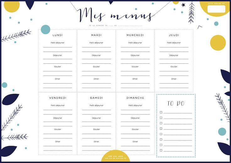 Très Semainier menu à imprimer | Régime weight watchers, Semainier et  HJ78