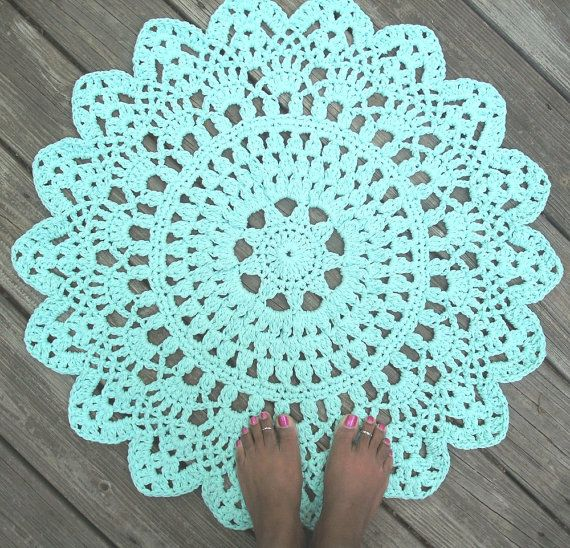 "Robins Egg Blue Cotton Crochet Doily Rug in 30"" Circle Lacy Pattern Non Skid. $55.00 USD, via Etsy."