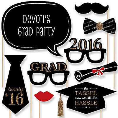 Graduation Party - Gold - 20 Piece Photo Booth Props Kit | BigDotOfHappiness.com #2016GradProps