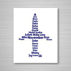 This is an original 8x10 digital download printable art piece of the NATO Phonetic Alphabet laid out in the shape of a jet airplane, in navy blue.  This phonetic alphabet airplane art is perfect for any aviation enthusiast, student pilot, or seasoned aviator. Its both informative and decorative!  As with all my items here at CAVU too, this phonetic alphabet airplane design is completely unique and original, dreamed up and designed entirely by me. You wont find this art anywhere else! Check…
