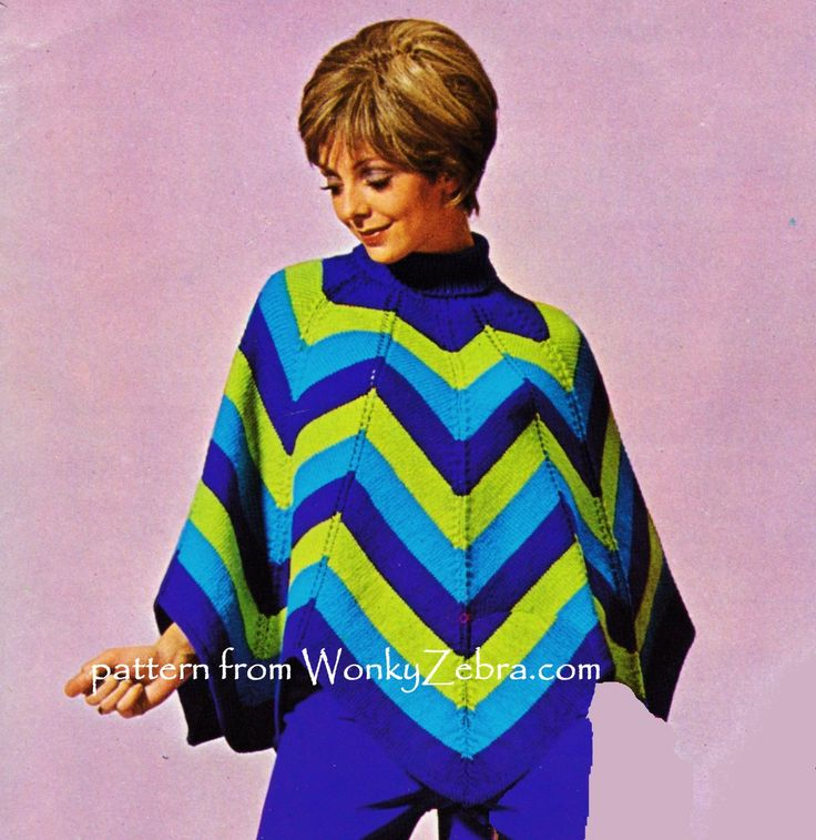 striking chevron poncho to knit in WonkyZebra pattern PDF WZ804