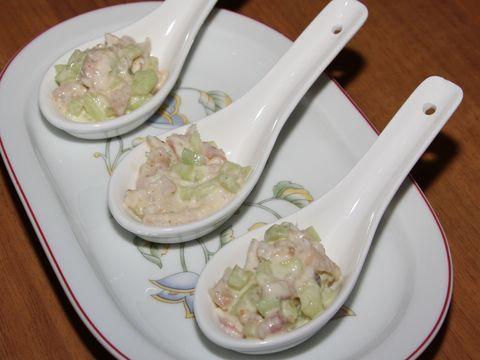 Amuse lepel met paling; een restje paling over van een ander gerecht, maak er dan snel deze leuke amuse van!