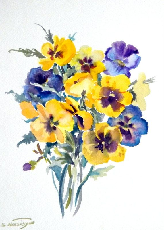 Pansies Original Watercolor Painting 12 X 9 Purple Yellow Blue Flowers Garden 2800