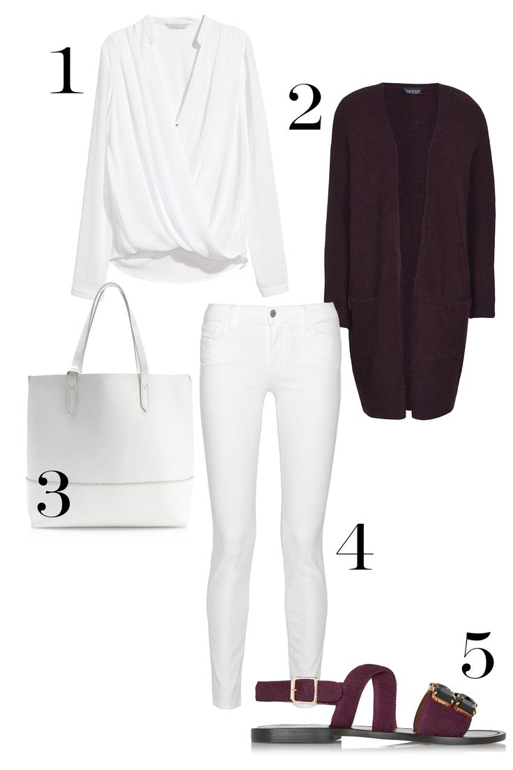 1. H&M Draped Wrap-Style Blouse, $29.95; hm.com. 2. Topshop Stretchy Slouch Cardigan, $90; topshop.com. 3. J.Crew New Uptown Tote Bag, $178; jcrew.com. 4. J Brand 811 Mid-Rise Skinny Jeans, $175; net-a-porter.com. 5. Marni Embellished Calf Hair Sandals, $490; net-a-porter.com.   - MarieClaire.com