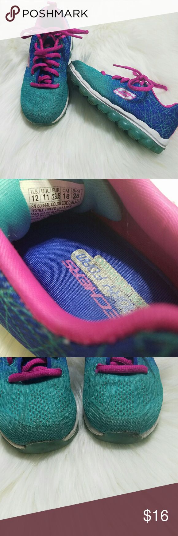 Girls Skechers Sneakers Memory foam Girls skechers size 12. Overall good condition, slight wear on the fronts. Shown in the 3rd photo Skechers Shoes Sneakers
