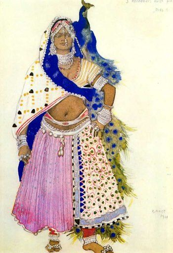 Leon Bakst, Costume for  Bayadère with peacock in Le Dieu bleu, 1912