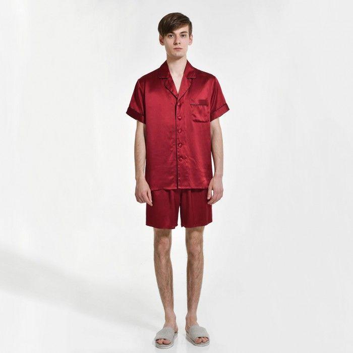Mens Pure Silk Short Pajamas Set Plus Size - OOSilk #silk #sleepwear #nightwear #dressinggown #robe #bathrobe #tops #shorts #pants #trousers #bottoms #pajamas #pjs #set #silky #soft #comfort #breathable #smooth #onlineshopping #women #female #sleep #fashion #womenfashion #ladies #camisole #nightshirt #chemise #nightgown #nightdress #nightie #slip #dress #bedroom