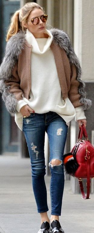 Olivia Palermo: Sweater – Vince  Cardigan – Ferragamo  Purse – Louis Vuitton  Key Chain – Fendi  Sunglasses – Westward Leaning  Jeans – AG