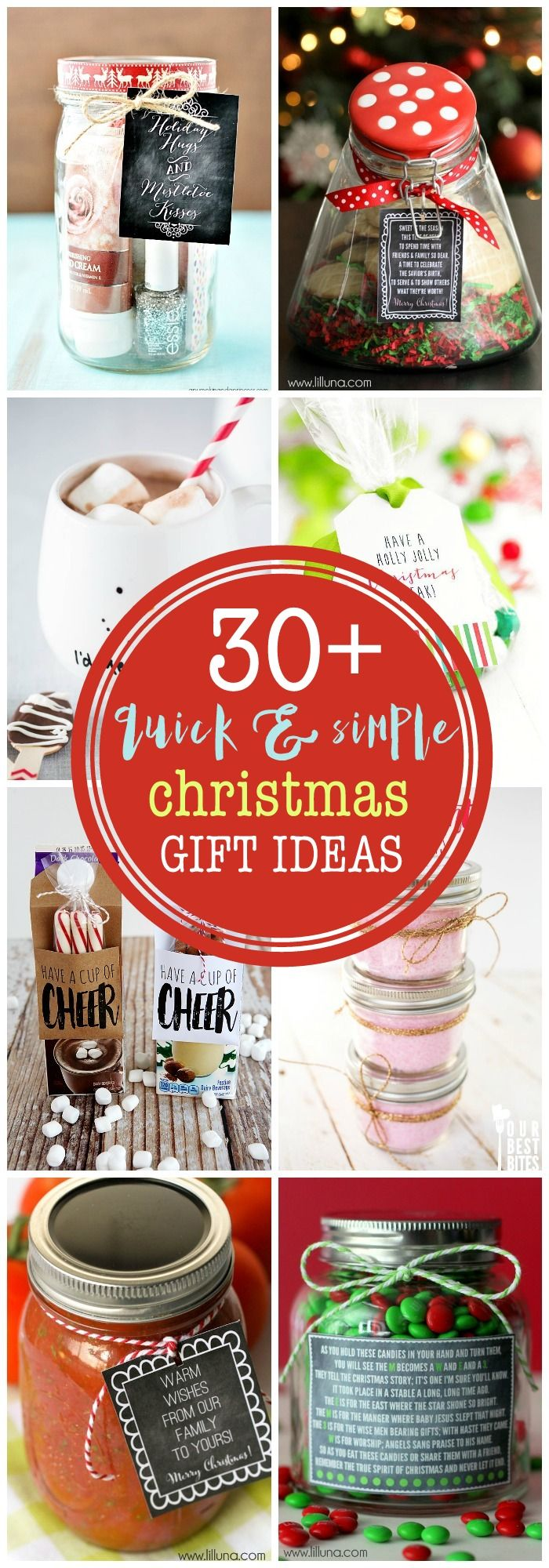 Need some last minute gift ideas that are cute and inexpensive? Look no further! This is a great collection of quick and cute gifts perfect for neighbors, friends and teachers!