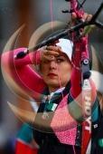LONDRES, INGLATERRA, JULIO 29: Aida Roman, durante la competencia por equipos de tiro con arco de los Juegos Olimpicos Londres 2012, en Lords Cricket Ground el 29 de julio de 2012 en Londres, Inglaterra. (Foto: Hector Vivas/JAM MEDIA)