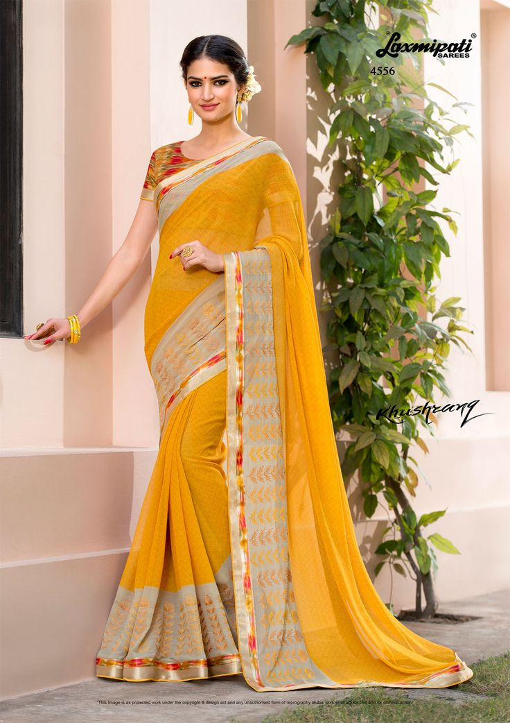 Buy this trendy mustard #georgette #designer #printedsarees and satin silk lace border along with multicolor rawsilk from #Laxmipatisarees. Catalogue- KHUSHRANG, DesignNumber- 4556, #Price - ₹ 2042.00 #Cashondelivery #Orderonline #Freeshipping #Freehomedelivery #Onlineservices #KHUSHRANG0317 #Couture #Ethnicwear #Laxmipatisarees