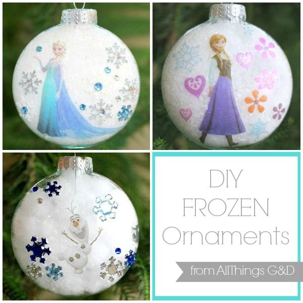 Surprise a Frozen fan on your holiday list with one of these beautiful DIY Frozen Ornaments - it's easier than you think with this amazing trick! | www.allthingsgd.com #Frozen #FrozenOrnament #PrincessElsaOrnament #QueenElsaOrnament #PrincessAnnaOrnament #OlafOrnament