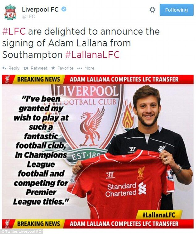 Incoming: How Liverpool broke the news of Lallana's arrival on their twitter account...