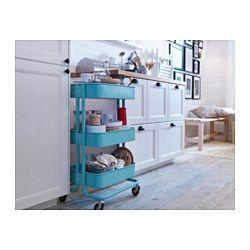 Idee voor atelier (kwasten e.d. dicht in de buurt), in keuken, en/of als nachtkastje.  IKEA - RÅSKOG, Roltafel, 49,95. Ook in creme en grijs.