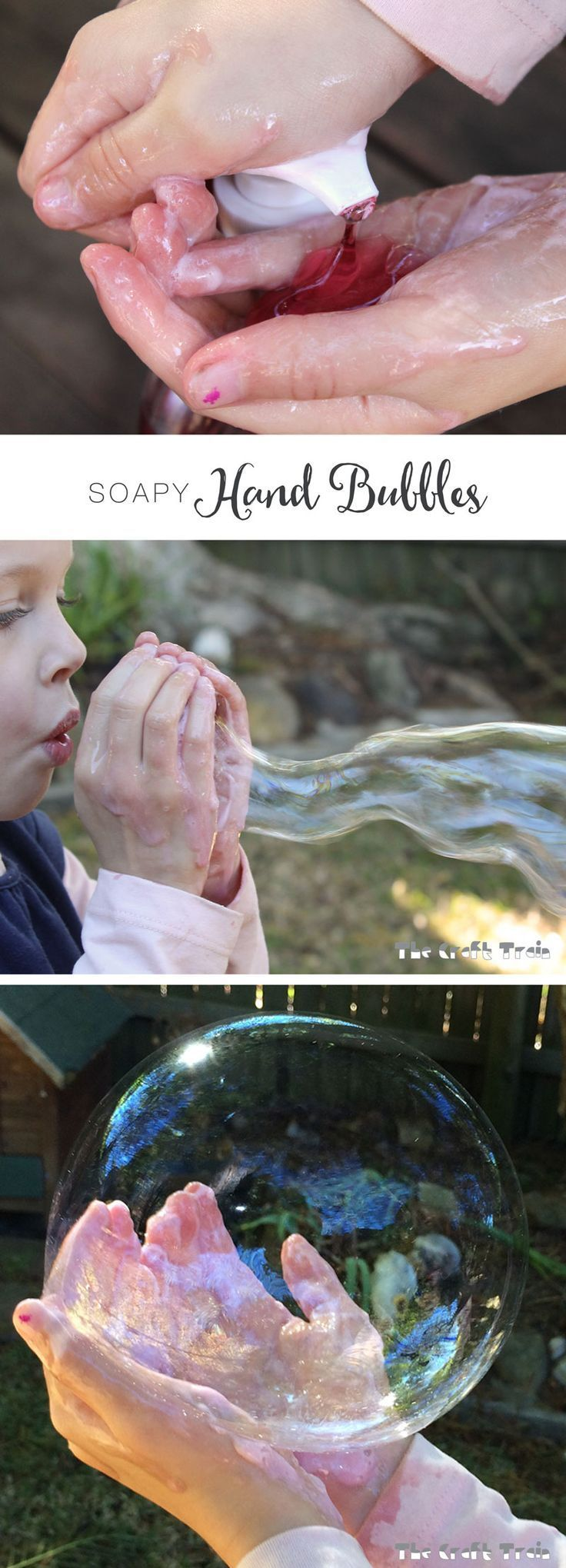 Soapy hand bubbles that you can catch created with liquid hand pump soap