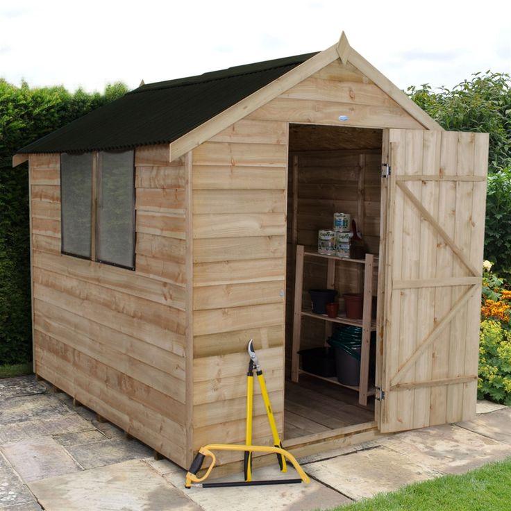 Forest Garden 6 x 8 Pressure Treated Overlap Apex Shed - Onduline Roof | Internet Gardener