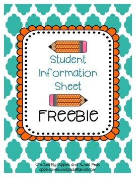 S organized this school year by using theseuments to create an all-in-one student information binder.  Copy forms front to back and have all student information that you want immediate access to in one location.  What is included: -Binder Cover Page-Student Information Form (2 Pages)          Included on this form:                -Student Info               -Parent Contact               -Medical               -Transportation               -Volunteer Sign-Up               -Extra Informatio...