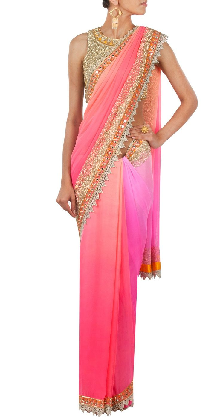 Pink mirrorwork sari available only at Pernia's Pop-Up Shop.