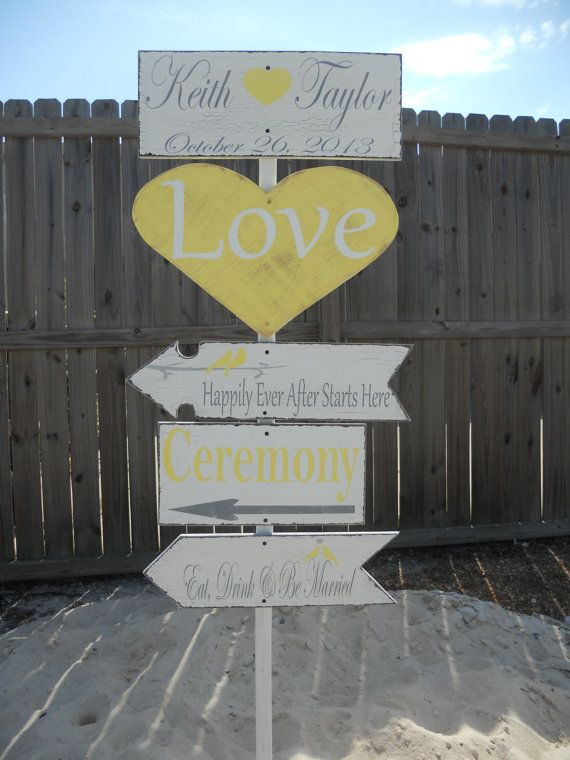 Directional signYellow and Gray Wedding  Love by 2chicsthatbelieve, $160.00