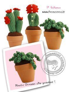 Leggi lo schema per realizzare la prima pianta grassa uncinetto. Altre piante grasse uncinetto e amigurumi nel sito di handmade.