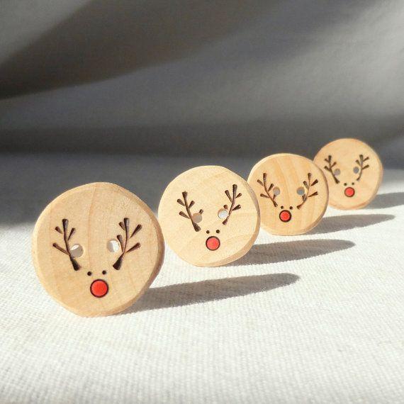 Handmade Reindeer Buttons, Pyrography Wood Button, DIY Christmas Ideas 4pce 1