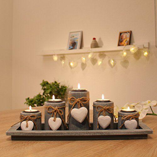 Teelichthalter Set auf Holztablett Tischdekoration Weihnachten