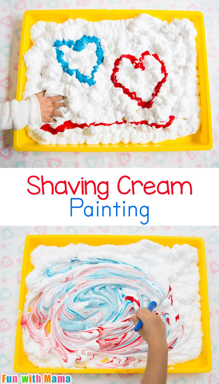 Shaving cream painting for preschool kids and toddlers is great summer fun. This valentine's day activity looks great with hearts, easter eggs, and more. It is also a fun bath time activity. You can also see you how to make clean up easy too! via @funwith