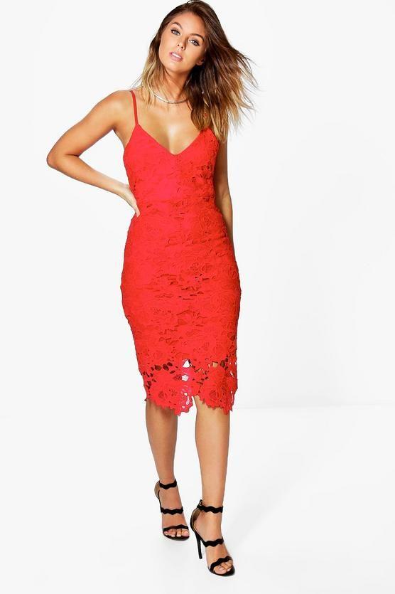 d92576c237d1 Boutique Crochet Lace Strappy Midi Dress | hanger&drawers | Dresses ...